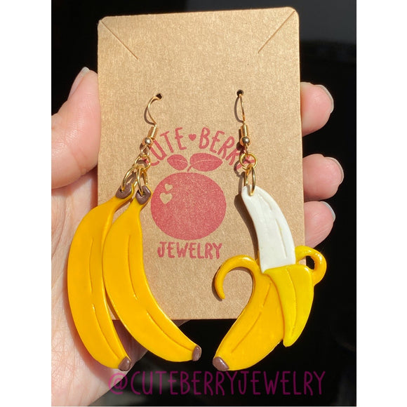 Clay Mixed Banana Dangle Earrings 🍌🍌🍌 - Cute Berry Jewelry
