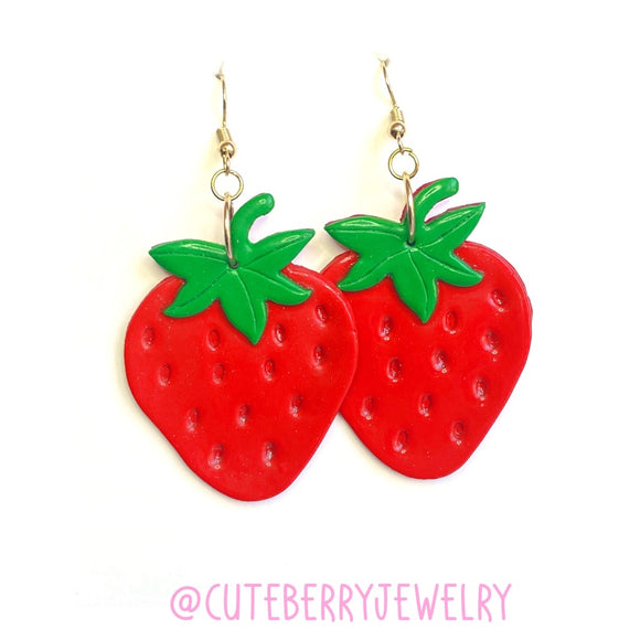 Cute Red Clay Strawberry Dangle Earrings 🍓 🍓 🍓 - Cute Berry Jewelry