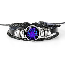 Load image into Gallery viewer, Zodiac Sign Black Leather Bracelet
