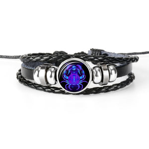 Zodiac Sign Black Leather Bracelet