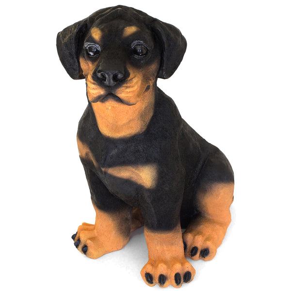 "Rottweiler Statue Outdoors ""Welcome friend"" 13.5 in. Adult Sitting 01D - Rottweiler POV"