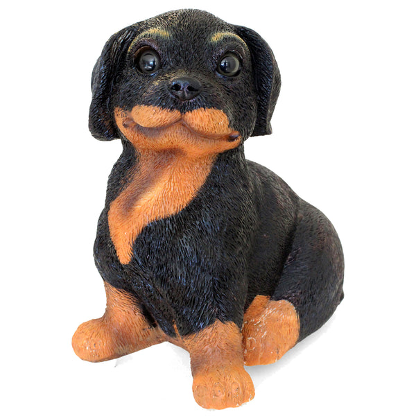 "Rottweiler Music Box Figurine ""Doggie in the window"" Song 6.5 in. Sitting Pup 01G - Rottweiler POV"