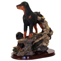 "Large Rottweiler Figurine Vase ""Courageous Mother"" 8.5 in. Adult w/ Puppies 12D - Rottweiler POV"