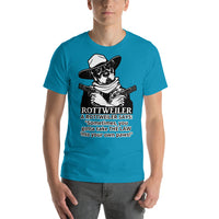 Law Into Your Paws Cowboy Rottweiler T-Shirt Short-Sleeve Unisex - Rottweiler POV