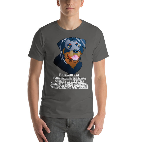Schutzhund Experts German Rottweiler Face T-shirt Short-sleeve Unisex - Rottweiler POV