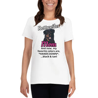 Rottweiler Mom Favorite Colors Black and Tan Women's short sleeve t-shirt - Rottweiler POV