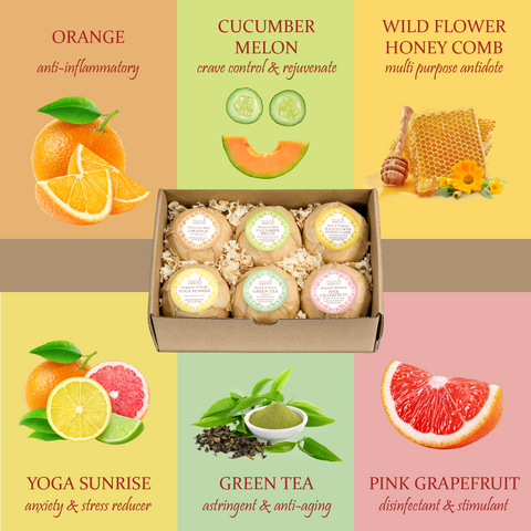 6 Different Calming Bath Bombs: Orange, Yoga Sunrise, Cucumber-Melon, Pink Grapefruit, & More