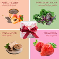 Aromatherapy Bath Bombs - 4 Bath Bombs - Strawberry, Sandalwood, Apricot Yogurt, Purple Basil & Kale Splash