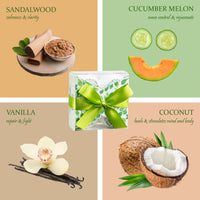Aromatherapy Bath Bombs - 4 Bath Bombs With Essential Oils: Coconut, Cucumber Melon, Vanilla, Sandalwood.