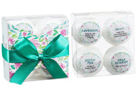 Aromatherapy Bath Bombs - 4 Bath Bombs With Essential Oils: Lavender, Mint, Yoga Sunrise, Green Tea.