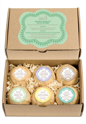 Aromatherapy Bath Bombs - 6 Different Calming Scents Bath Bombs: Vanilla, Mint, Lavender, Yoga Sunrise, Sandalwood, & Green Tea