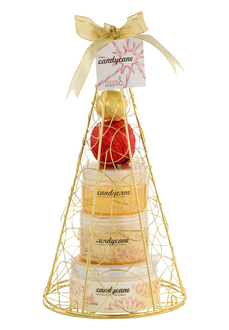 Bath And Body Gift Set - Candy Cane! Gold Iron Plated Christmas Tree Bath And Body Perfumed Gift Set.