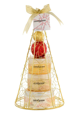 Candy Cane Gold Iron Plated Christmas Tree Bath and Body Perfumed Gift Set