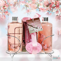 Bath And Body Gift Set - Cherry Blossom Women's Gift Set: Shower Gel, Bubble Bath, Body Lotion, Bath Salts, & Pink Flower Salt