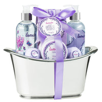 Bath And Body Gift Set - Lavender Bath Spa Set: Shower Gel, Bubble Bath, Body Lotion, Bath Bomb, Bath Salts