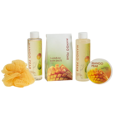 Bath And Body Gift Set - Mango Pears Tub Spa Bath Set: Shower Gel, Bubble Bath, Body Lotion, Bath Salt, & Puff
