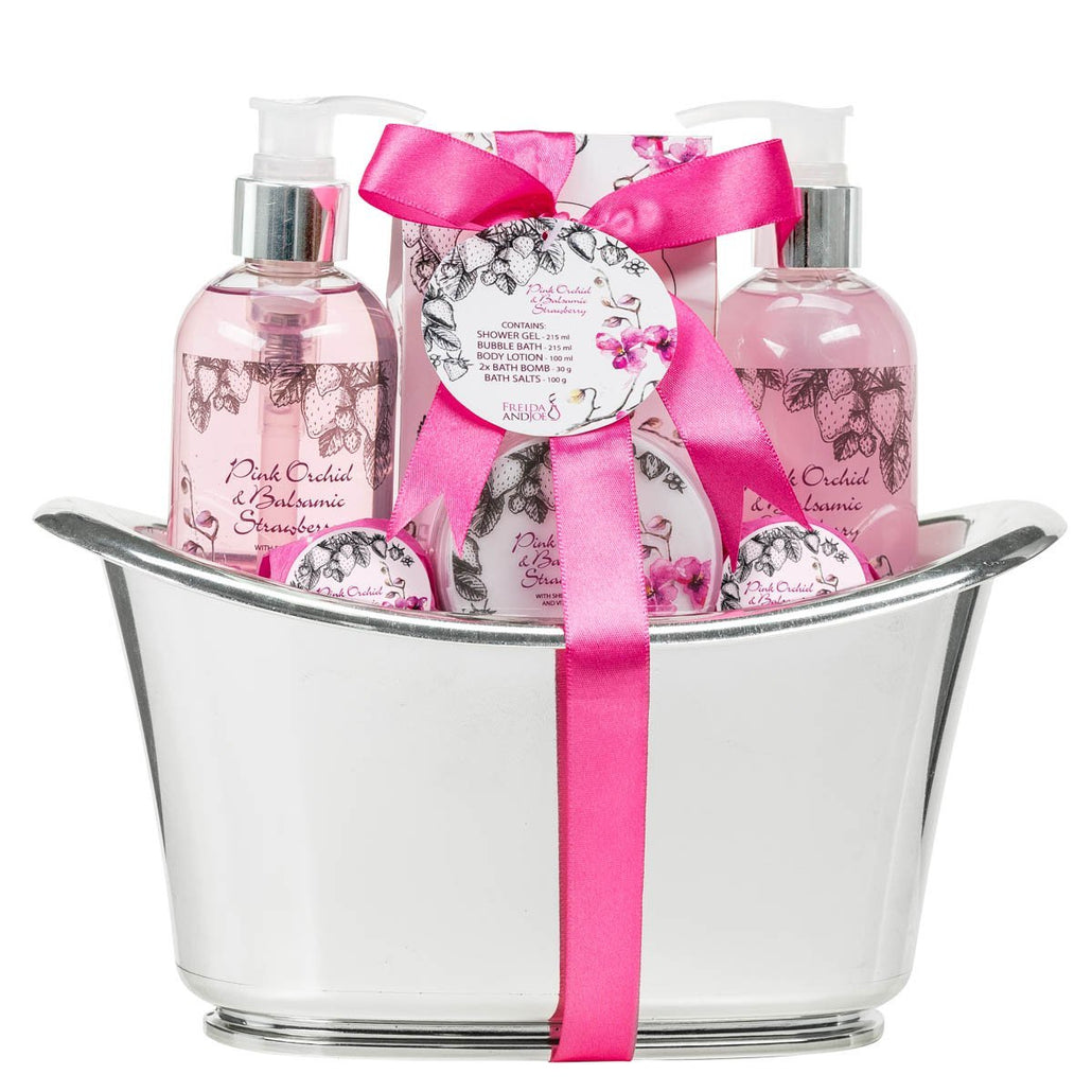 Pink Orchid Strawberry Spa: Bath Bombs, Body Lotion, Bath Salts, Shower Gel, Bubble Bath