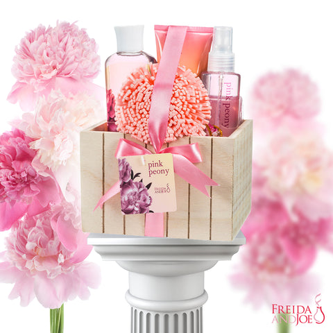 Bath And Body Gift Set - Pink Peony Spa Bath Gift: Shower Gel, Bubble Bath, Body Spray, Body Lotion & Sponge