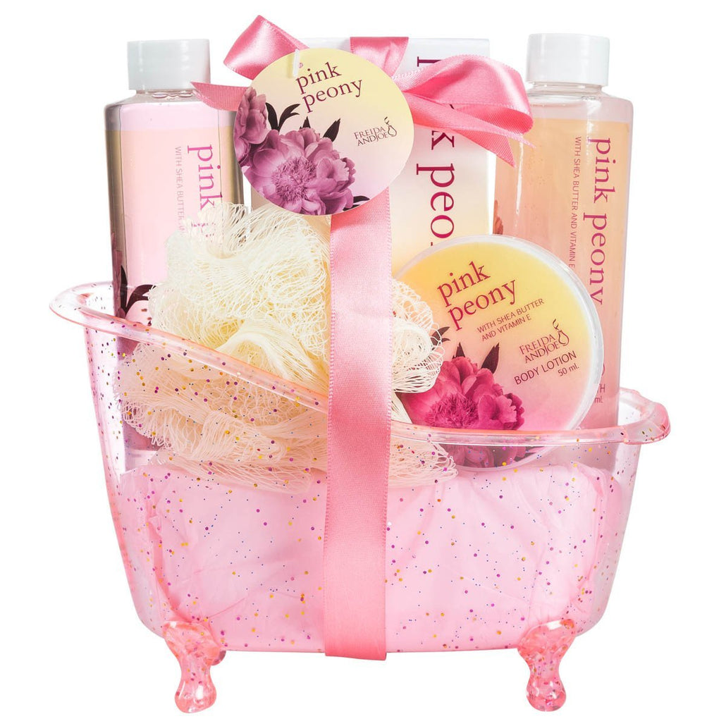 Pink Peony Tub Spa Basket, Shower Gel, Bubble Bath, Body Lotion, Bath Salts & Puff