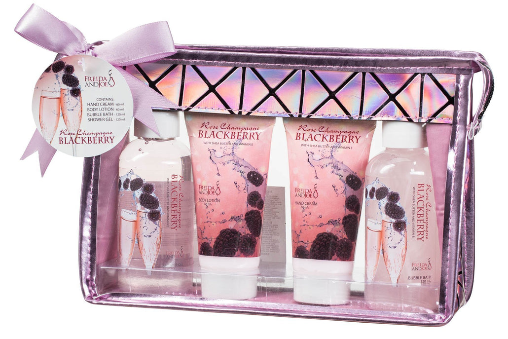 Rose Champagne Blackberry Spa Set: Hand Cream, Shower Gel, Bubble Bath, & Body Lotion