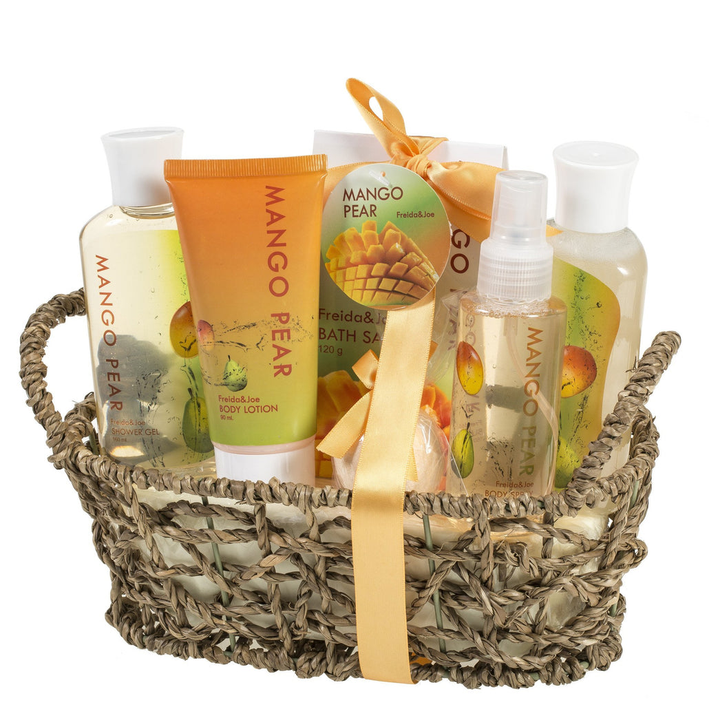 Tropical Mango-Pears Gift Basket: Shower Gel, Bubble Bath, Body Spray, Bath Bomb & More.