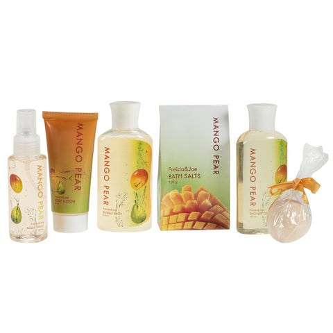 Bath And Body Gift Set - Tropical Mango-Pears Gift Basket: Shower Gel, Bubble Bath, Body Spray, Bath Bomb & More.