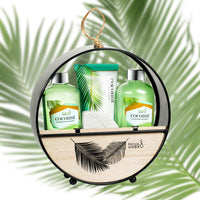Coconut Bath Gift Set In Wood Round Holder