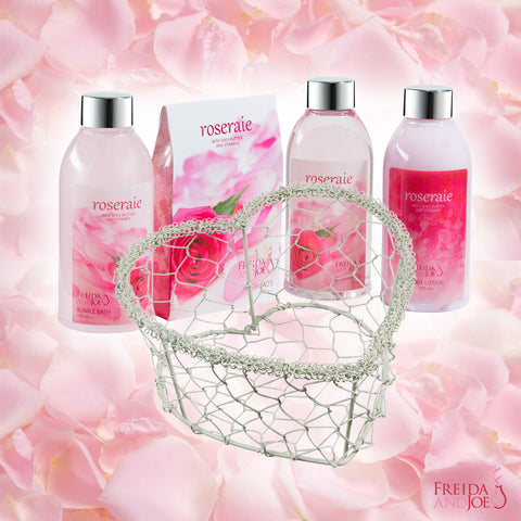 Gift Set - Pamper Your Body With Exquisite Heart Love Basket, Rose Fragrance Spa Bath & Body Set.