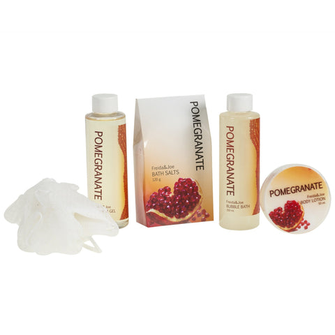 Pomegranate Bath Spa Basket: Bath Salts, Body Lotion, Shower Gel, Bubble Bath And Puff