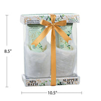 Robes & Slippers - Bath Spa Slippers Set In White Rose Jasmine Fragrance
