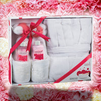 Robes & Slippers - Luxury BathRobe Lush Slipper Spa Bath Body Set In Pink Peony Fragrance