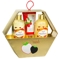 Strawberry Holiday Gift Set Gold Hexagon Box, Includes Shower Gel, Bubble Bath, Body Lotion
