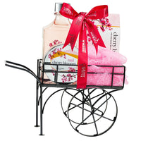 Wheelbarrow Cherry Blossom Spa Bath Set, Incluldes Shower Gel, Bath Salts, Body Cream Lotion and Bath Puff with Shea Butter & Vitamin E