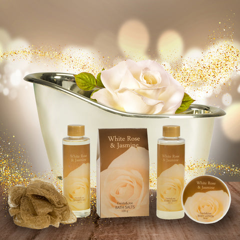 White Rose Jasmine Gold Tub Spa Basket: Shower Gel, Bubble Bath, Body Lotion, Bath Salts