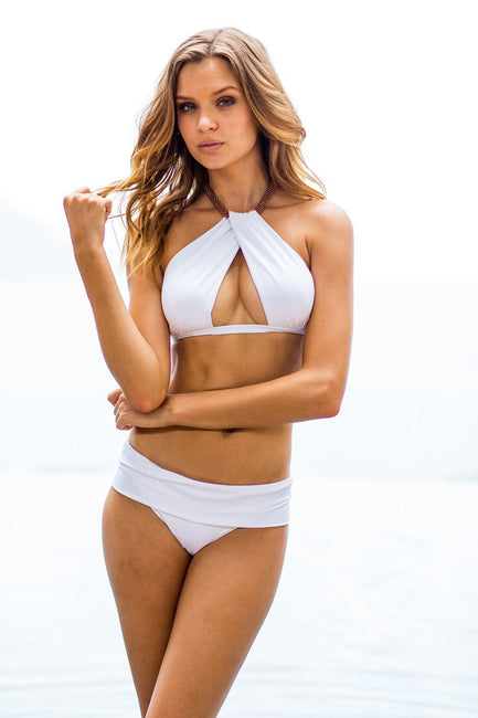 Sauvage Swimwear, Designer Swimwear from San Diego, CA made in usaVenezia Twist Bikini White, , Swim, sauvage swimwear, Sauvage - 1