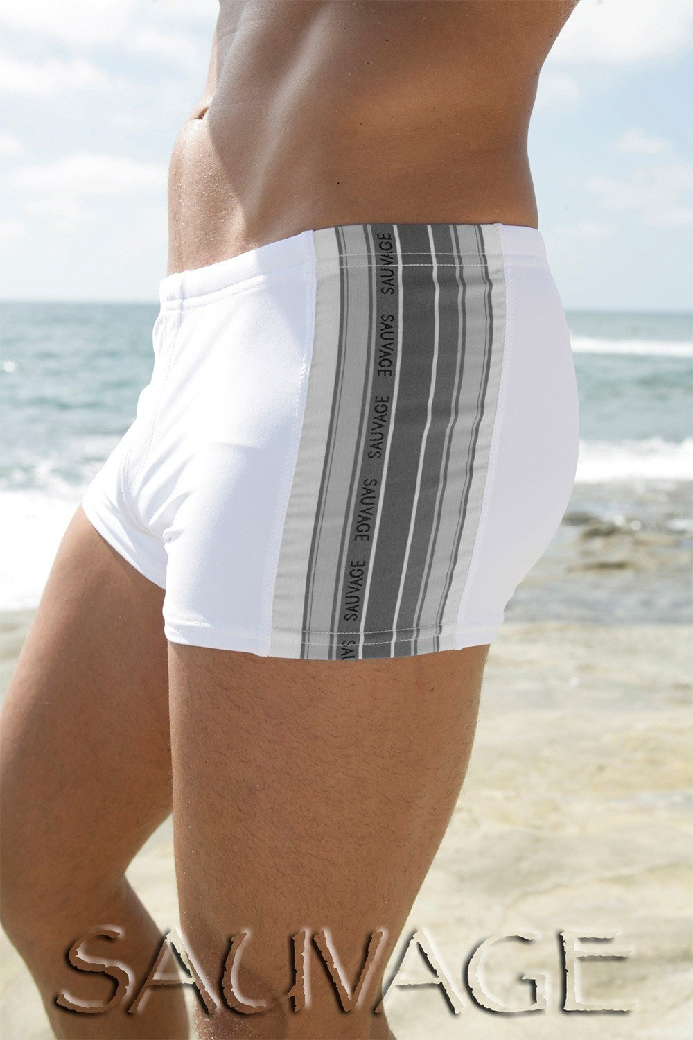 Sauvage Swimwear, Designer Swimwear from San Diego, CA made in usaDiver Square Cut, Small - 30 / White, Mens Swim, Men's Swim, Sauvage - 2