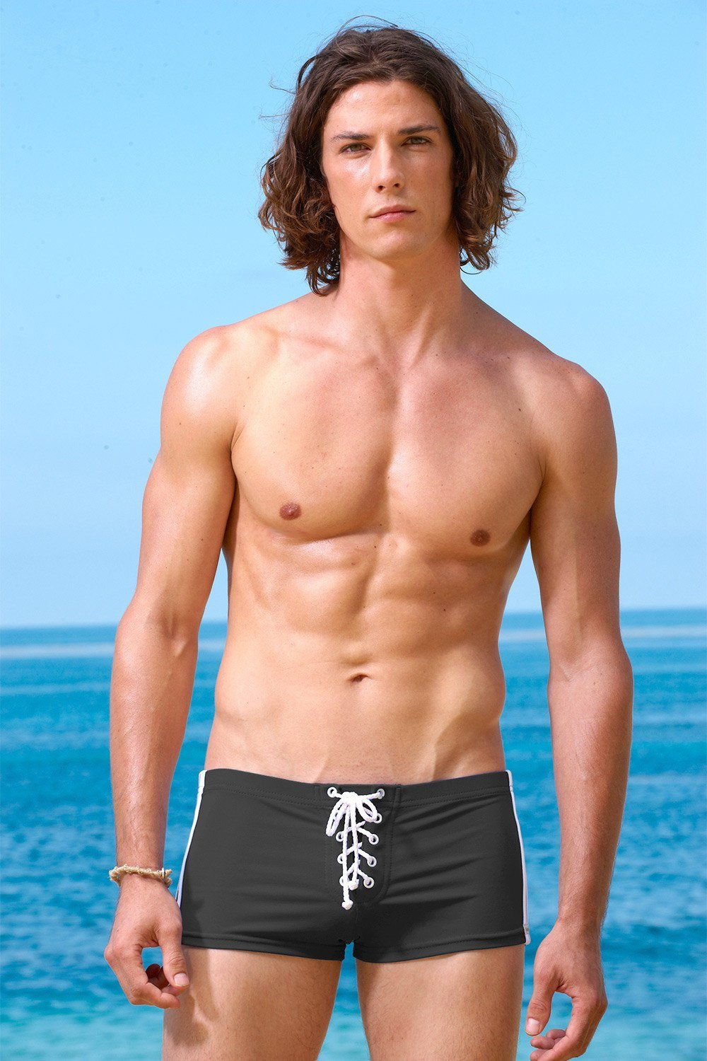 Sauvage Swimwear, Designer Swimwear from San Diego, CA made in usaFootball Lace-Up, Small - 30 / Black/Wht, Mens Swim, Men's Swim, Sauvage - 1
