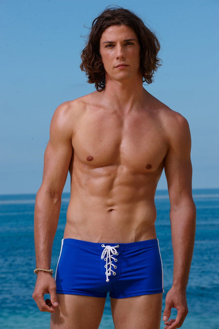 Sauvage Swimwear, Designer Swimwear from San Diego, CA made in usaFootball Lace-Up, Small - 30 / Cobalt/Wht, Mens Swim, Men's Swim, Sauvage - 2
