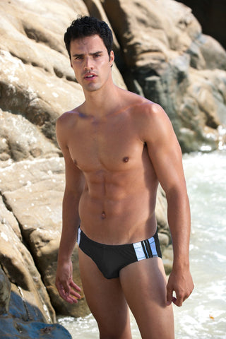Sauvage Swimwear, Designer Swimwear from San Diego, CA made in usaFreestyle Stripe Brief, Small - 30 / Black/White, Mens Swim, Men's Swim, Sauvage - 2