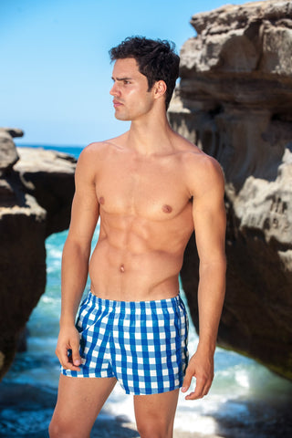 Sauvage Swimwear, Designer Swimwear from San Diego, CA made in usaManhattan Plaid Swimmer, , Mens Swim, Men's Swim, Sauvage - 1