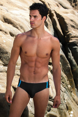 Sauvage Swimwear, Designer Swimwear from San Diego, CA made in usaPique Swimmer Brief, Small - 30 / Black/Yellow Stripe, Mens Swim, Men's Swim, Sauvage - 2
