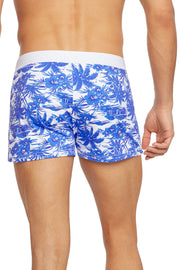 Blue Hawaii Print Retro Lycra Swimmer