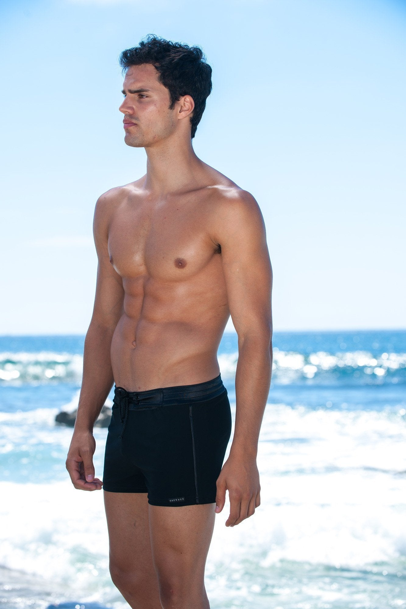 Sauvage Swimwear, Designer Swimwear from San Diego, CA made in usaTuxedo Black Retro Lycra Swimmer, , Mens Swim, Men's Swim, Sauvage - 2