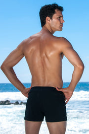 Sauvage Swimwear, Designer Swimwear from San Diego, CA made in usaTuxedo Black Retro Lycra Swimmer, , Mens Swim, Men's Swim, Sauvage - 3