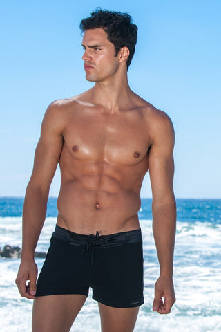 Sauvage Swimwear, Designer Swimwear from San Diego, CA made in usaTuxedo Black Retro Lycra Swimmer, , Mens Swim, Men's Swim, Sauvage - 1