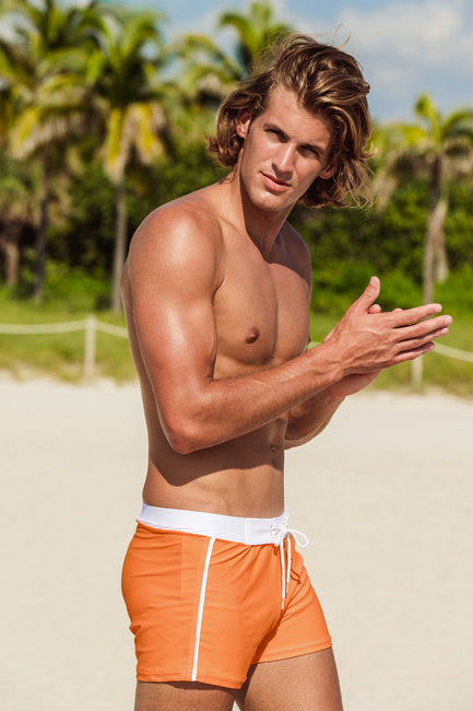 Retro Lycra Swimmer - Miami Orange