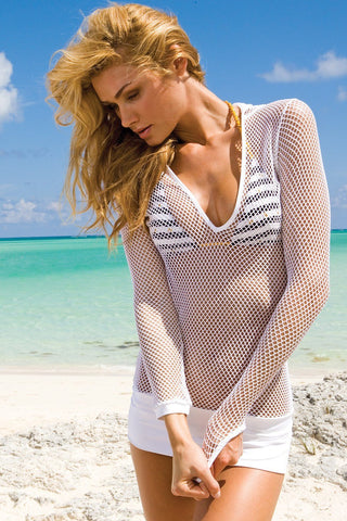 Sauvage Swimwear, Designer Swimwear from San Diego, CA made in usaMesh Hoodie Coverup, , Swim, sauvage swimwear, Sauvage - 1