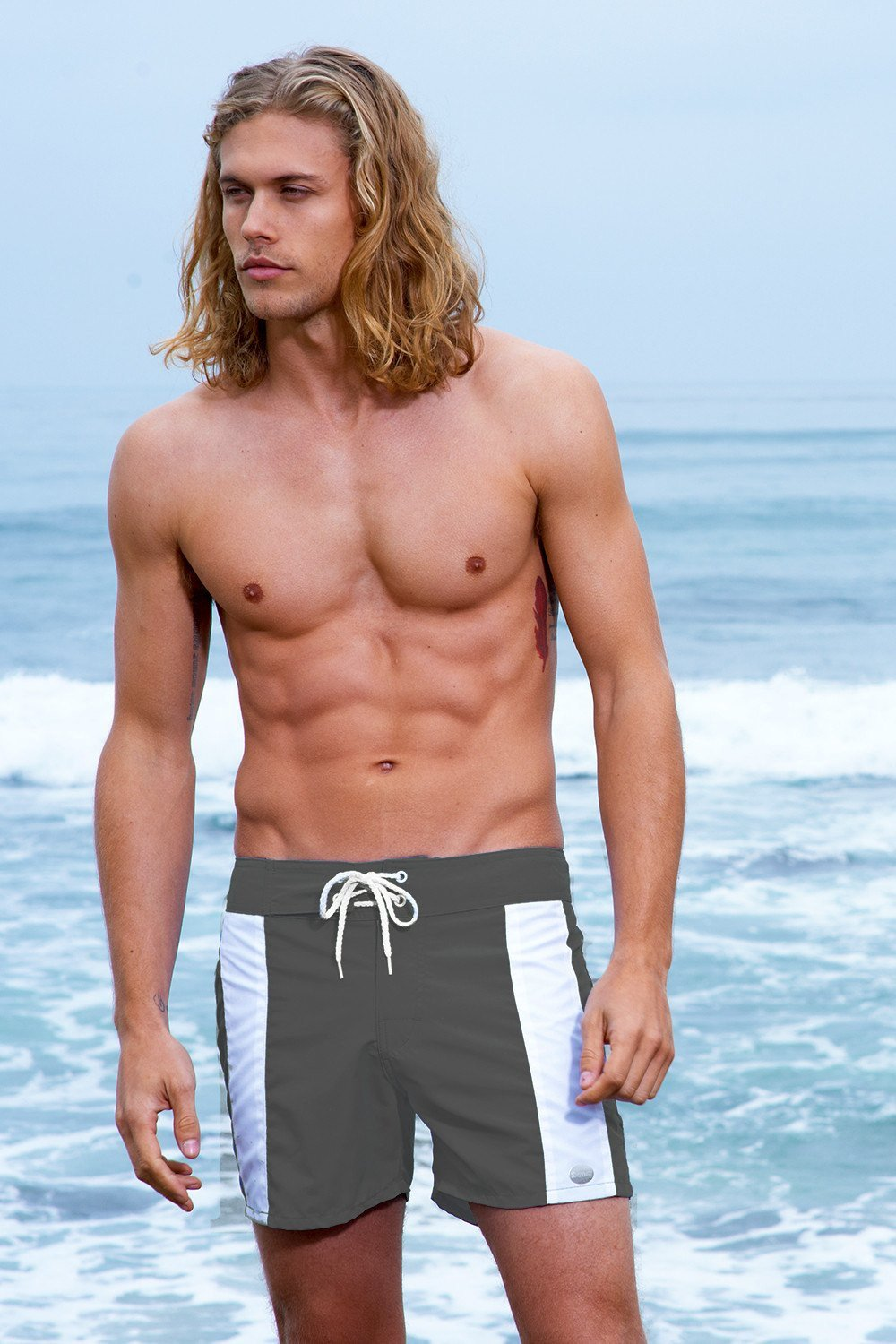 Sauvage Swimwear, Designer Swimwear from San Diego, CA made in usaBoardwalk Surf Short, Small - 30 / Charcoal/White, Mens Swim, Men's Swim, Sauvage - 1