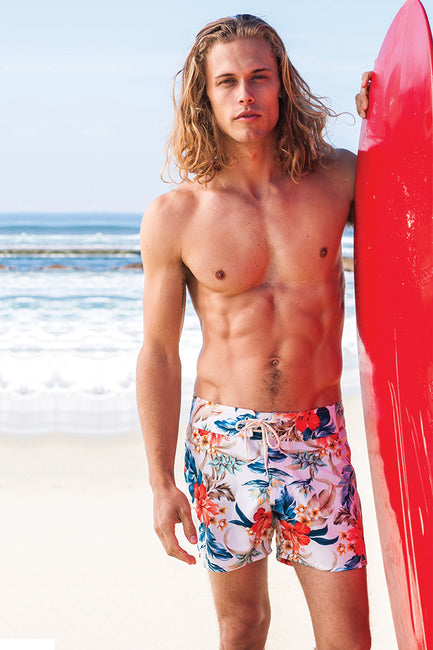 White Floral Boardwalk Surf Short