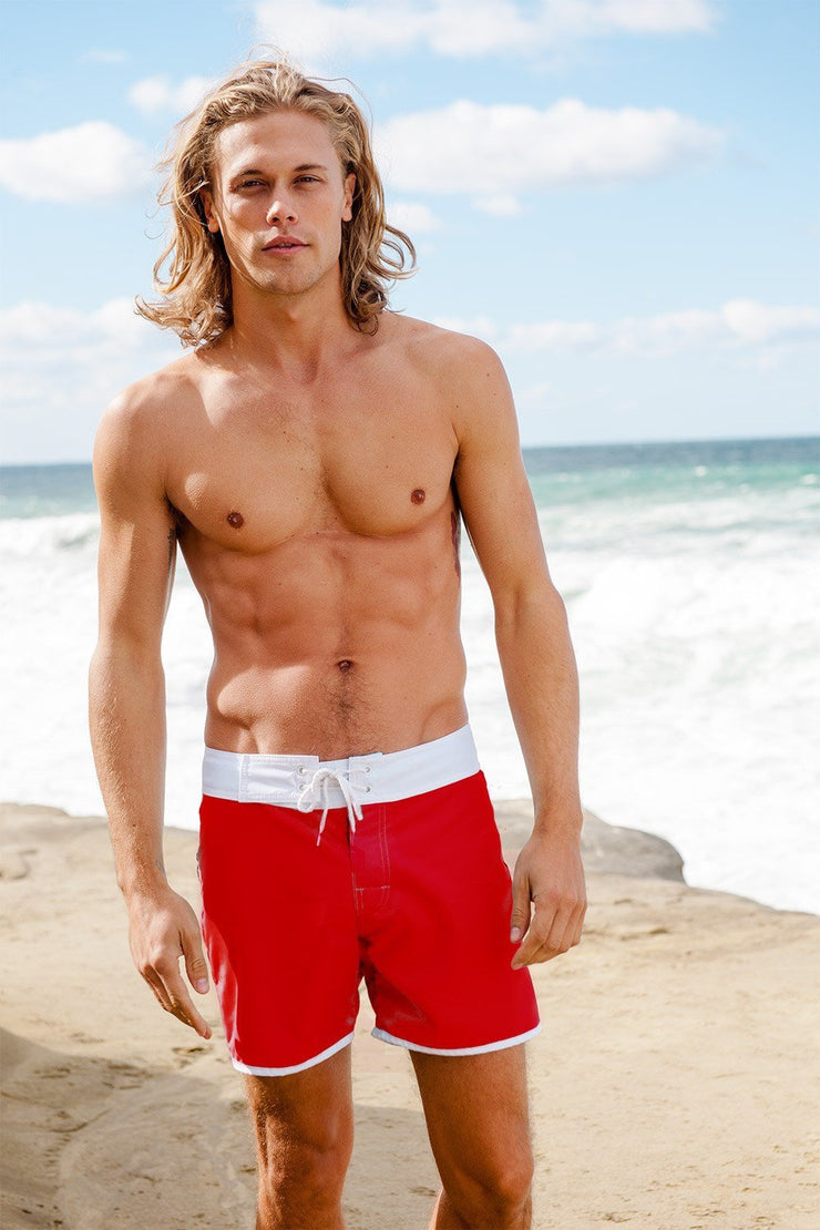 Sauvage Swimwear, Designer Swimwear from San Diego, CA made in usaPromenade Surf Short, Small - 30 / Red, Mens Swim, Sauvage Swimwear Mens, Sauvage - 4